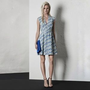 Reiss Crawford Cornfield Print Dress in Blue